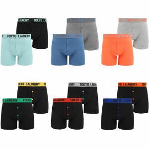 New-Mens-Tokyo-Laundry-2-Pack-Buttoned-Cotton-Rich-Boxer-Shorts-Set-Size-S-XXL