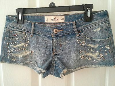 NWOT Hollister embellished jean denim shorts beaded juniors size 3 w 26 juniors