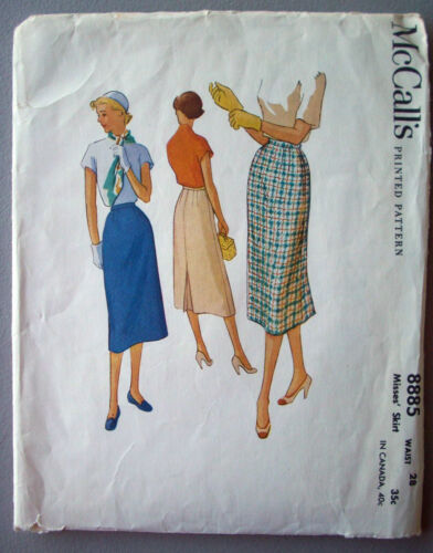 1950's pencil thin fitted skirt back kickout pleat pattern 8885 size 28 waist