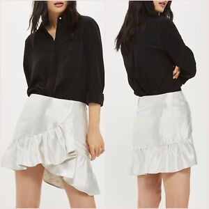 8d811efdc6 Image is loading Topshop-Petite-Metallic-Shiny-Silver-Frilled-Mini-Skirt-
