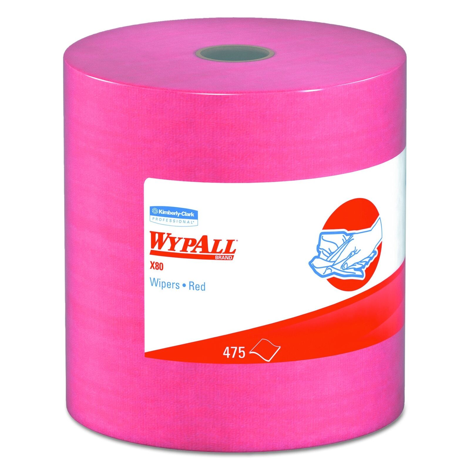 WypAll 41055 X80 Wipers, HYDROKNIT, Jumbo Roll, 12 1 2 x 13 2 5, Red, 475 Wipers