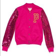 New Victoria Secret Pink Sequins Bling Varsity Jacket Sweatshirt sz L