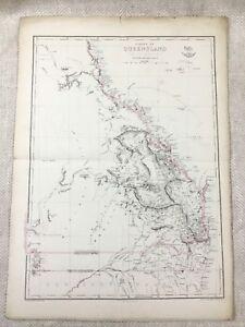 1858 Antik Map Of Australia Kolonie Von Queensland Hand- Farbig 19th Jahrhundert