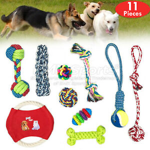 COTTON-ROPE-TOYS-DOG-PET-DOG-PLAYING-ROPE-CHEWING-TOY-UK-STOCK-SETS-10-PIECES