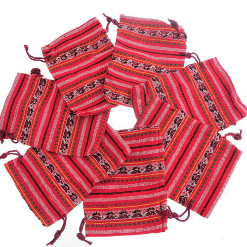 10Pcs 10x14cm Bunt Tribal Tribe Drawstring Jewelry Gift Bags Pouches Boho .,