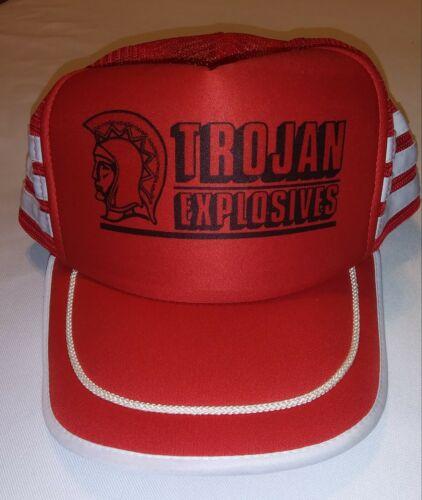 Vintage Mesh Trucker Hat TROJAN EXPLOSIVES 3 Strip