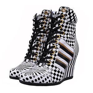 Details about adidas JS Jeremy Scott Wedge Hi Opart Keilabsatz Damen Schuhe Plateau Pumps Weiß