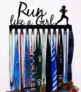 Courir Comme Une Fille-support Mural Médaille Holder Display-made In Usa-couleur Choix-afficher Le Titre D'origine