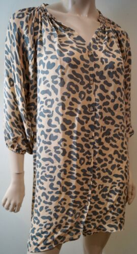 4 Sleeve Neck Pale Print S 3 Blouse Orange Tucker Round Silk Grey Top Leopard zBZvxB