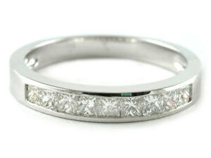Image Is Loading Platinum Channel Set Princess Cut Diamond Half Eternity