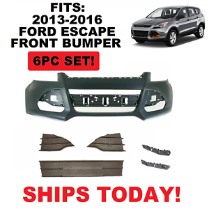FITS 2013 2014 2015 2016 FORD ESCAPE FRONT BUMPER COVER PRIMED NEW 6PC SET