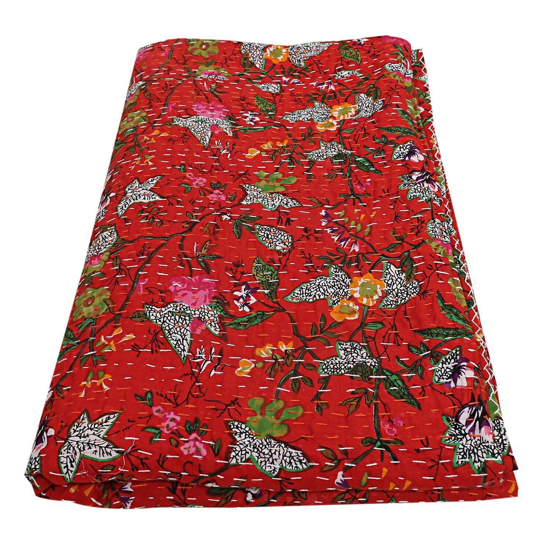Indian red cotton paradise kantha quilt handmade boho bohemian bedding bedspread