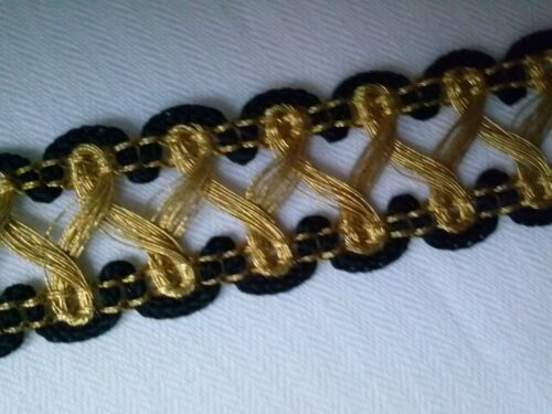 costume couture scapbooking medieval galon or et noir metal 20mm braid gold