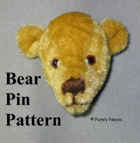 Velour Upholstery Bear Pin  PATTERN by Neysa A. Phillippi of Purely Neysa