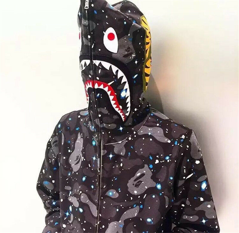 BAPE MEN S A BATHING APE SPACE CAMO SHARK HOODIE FULL ZIP Sweater COAT New a1e479bbfa4d