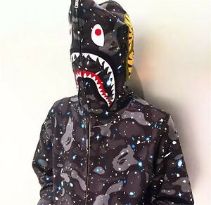 912b0dd0ec31 New BAPE Coat MEN S A BATHING APE SPACE CAMO SHARK HOODIE FULL ZIP ...