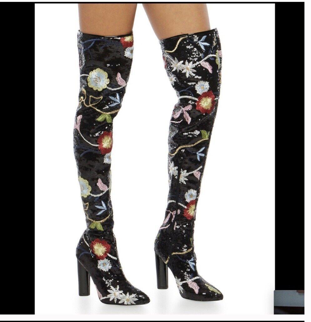 Mujer botas Sobre La Rodilla Con Lentejuelas Tamaño  8