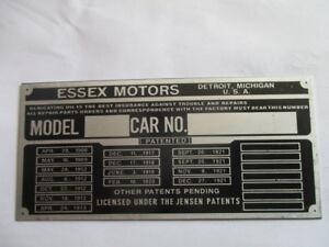 Collection Ici Plaque Bouclier Id-plaque Essex Motors Usa 1921 1922 1923 S43 Vente Chaude 50-70% De RéDuction
