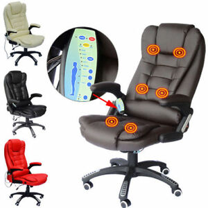 Office-Computer-Chair-Massage-Heat-Leather-Recline-Wheels-Swivel-Remote-Control