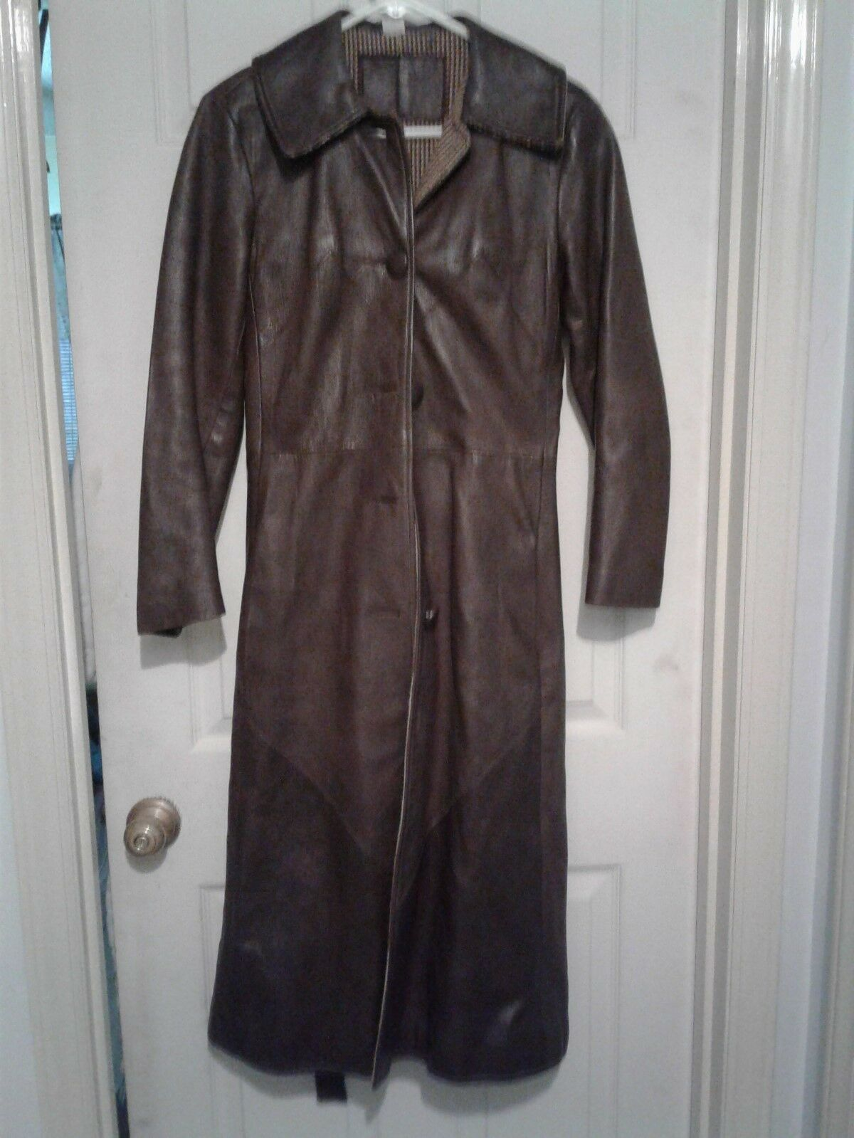 Equestrian Riding Coat,Vintage Leather,Brown,size small