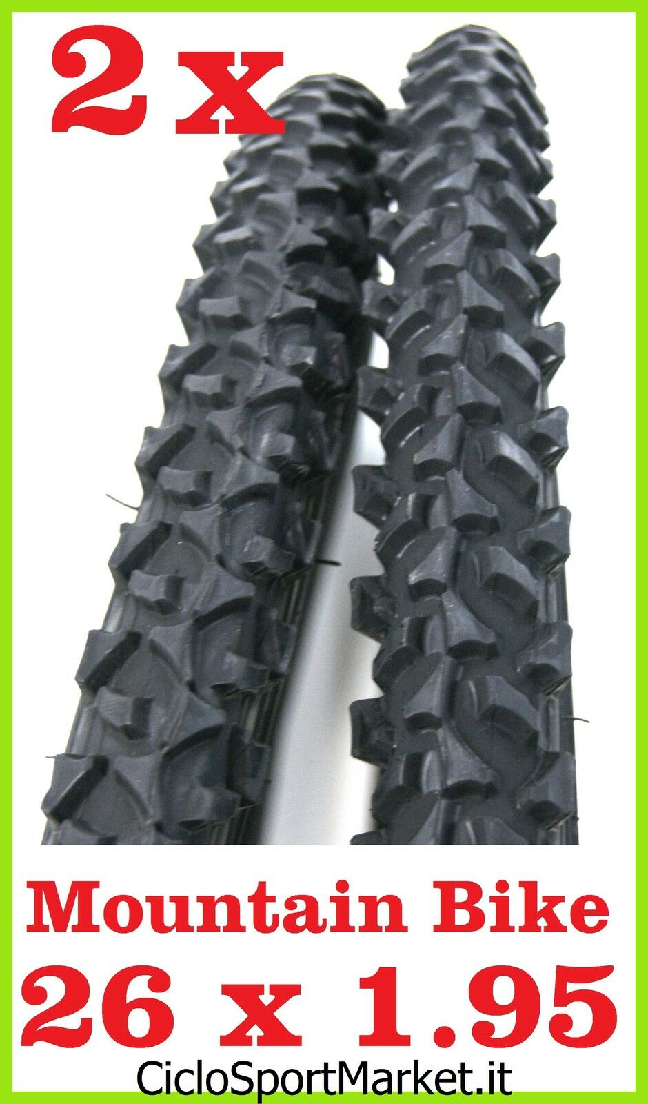 2 x Tyres for bicycle Bike MTB Mountain Bike Size 26 x 1.95 - black