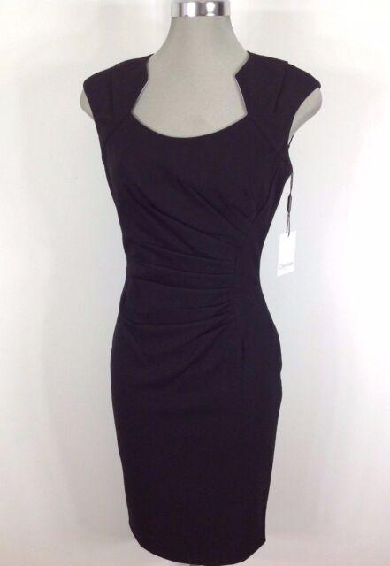 Calvin Klein Womens 8 Cap Sleeves Rouched Black Designer Dress Ebay