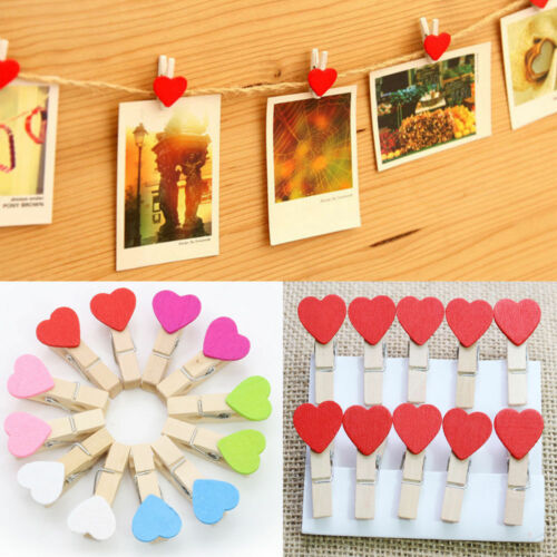 5 PCS MINI NATURAL HEART WOODEN CLOTHES PAPER CRAFT PEGS IN 6 COLOURS,YOU CHOOSE