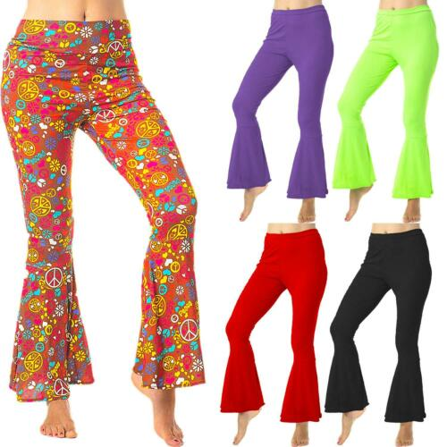 Ladies 1960s 1970s Flares Adult Disco Flared Trousers Hippie Fancy Dress Costume
