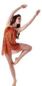 Keep Breathing Dance Costume Copper Tunic Over Biketard Clearance Child 6x7