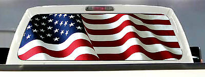 AMERICAN FLAG PICK-UP TRUCK REAR WINDOW GRAPHIC DECAL PERFORATED VINYL TINT