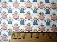 Allover Mini Sunbonnet Girl & Boy Pink & Blue Print White Cotton Fabric