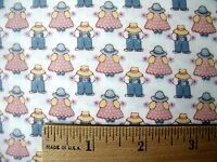 Allover Mini Sunbonnet Girl & Boy Pink & Blue Print White Cotton Fabric