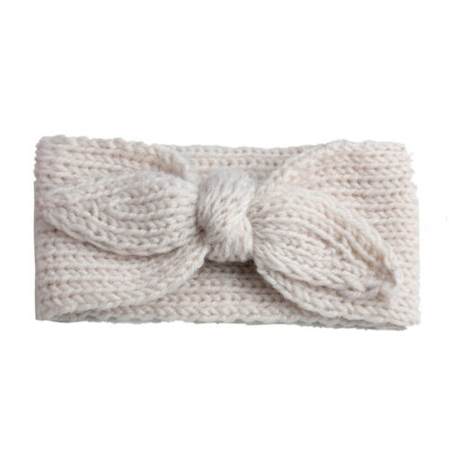 Baby Girl Cute Rabbit Ear Wool Knitted Headband Simple Solid Color Warm Hairband