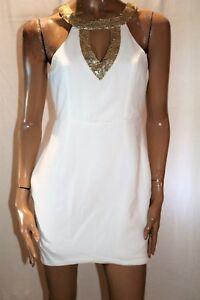 ALLY-Brand-Cream-Gold-Sequin-Neck-Exposed-Back-Sheath-Dress-Size-12-BNWT-SE94