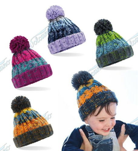 GIRLS POM POM BEANIE BOBBLE HAT KIDS CHILDS LUXURY LINED WINTER HAT BABY BOYS