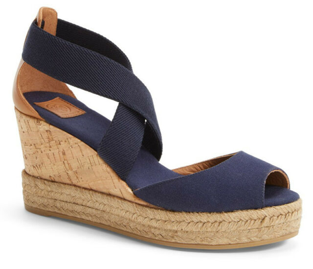 ee123f19b NIB TORY BURCH Peep Toe Platform Cork Wedge Sandals Heel Size 7 Navy Tan  Leather