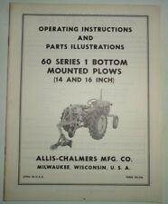 Allis Chalmers 60 Series 1 Bottom Plow Operators Parts Manual Original 1416