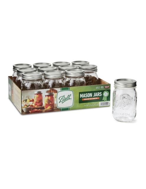 Ball Regular Mouth Pint Glass Mason Jars with Lids and Bands, 16 oz, 12 Count