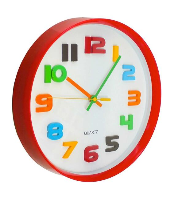 Round Red with White Face Colorful Numbers Wall Clock (NEW)