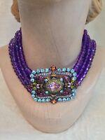 Heidi Daus 6 Strand Purple Choker Necklace, In Box