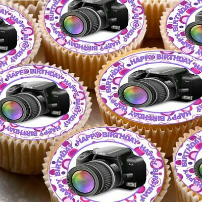 Swell 24 Icing Cake Cupcake Fairy Toppers Decorations Camera Photo Happy Funny Birthday Cards Online Barepcheapnameinfo