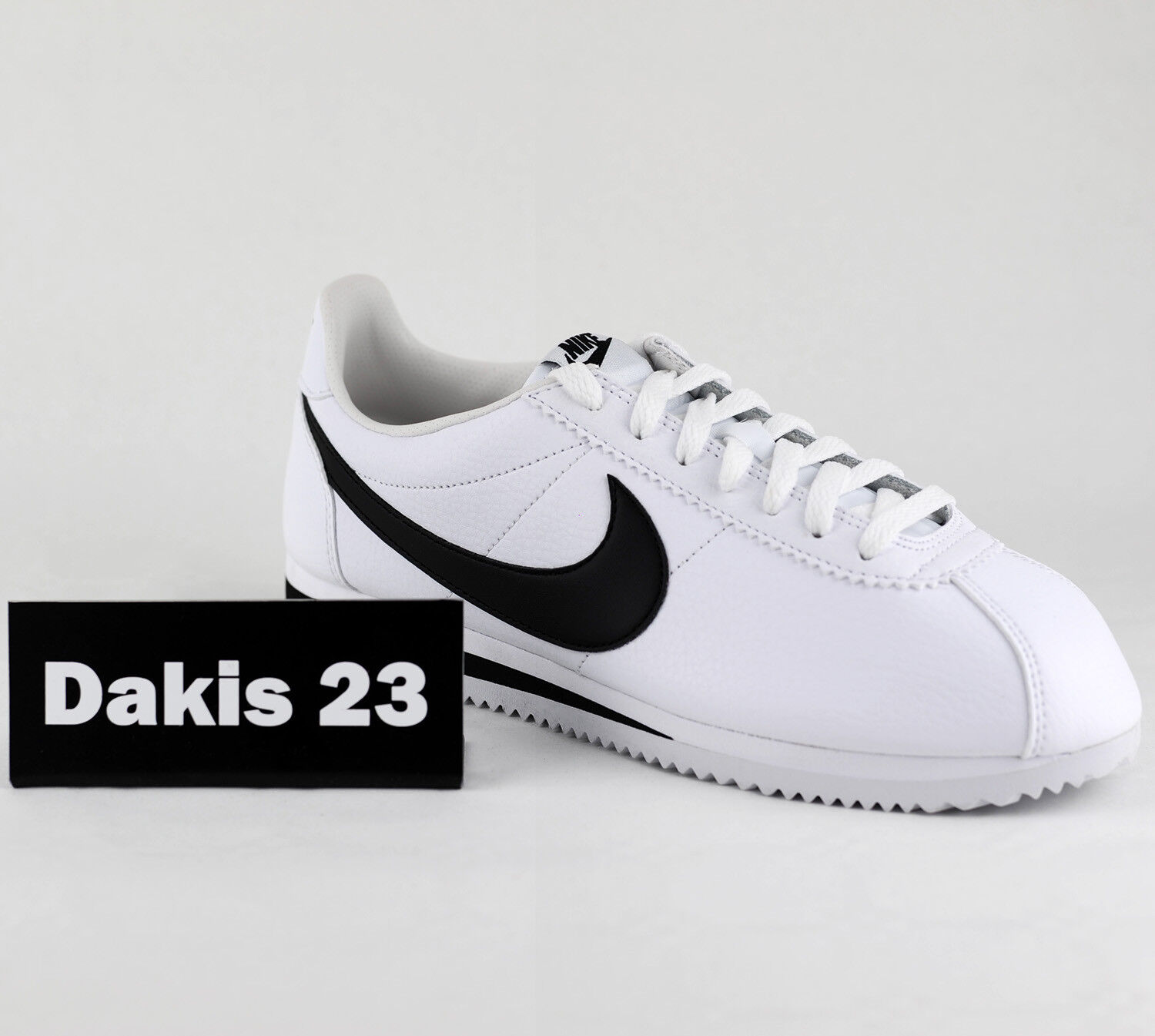 Nike Classic Cortez Leather Men Lifestyle Sneakers New White Black 749571-100