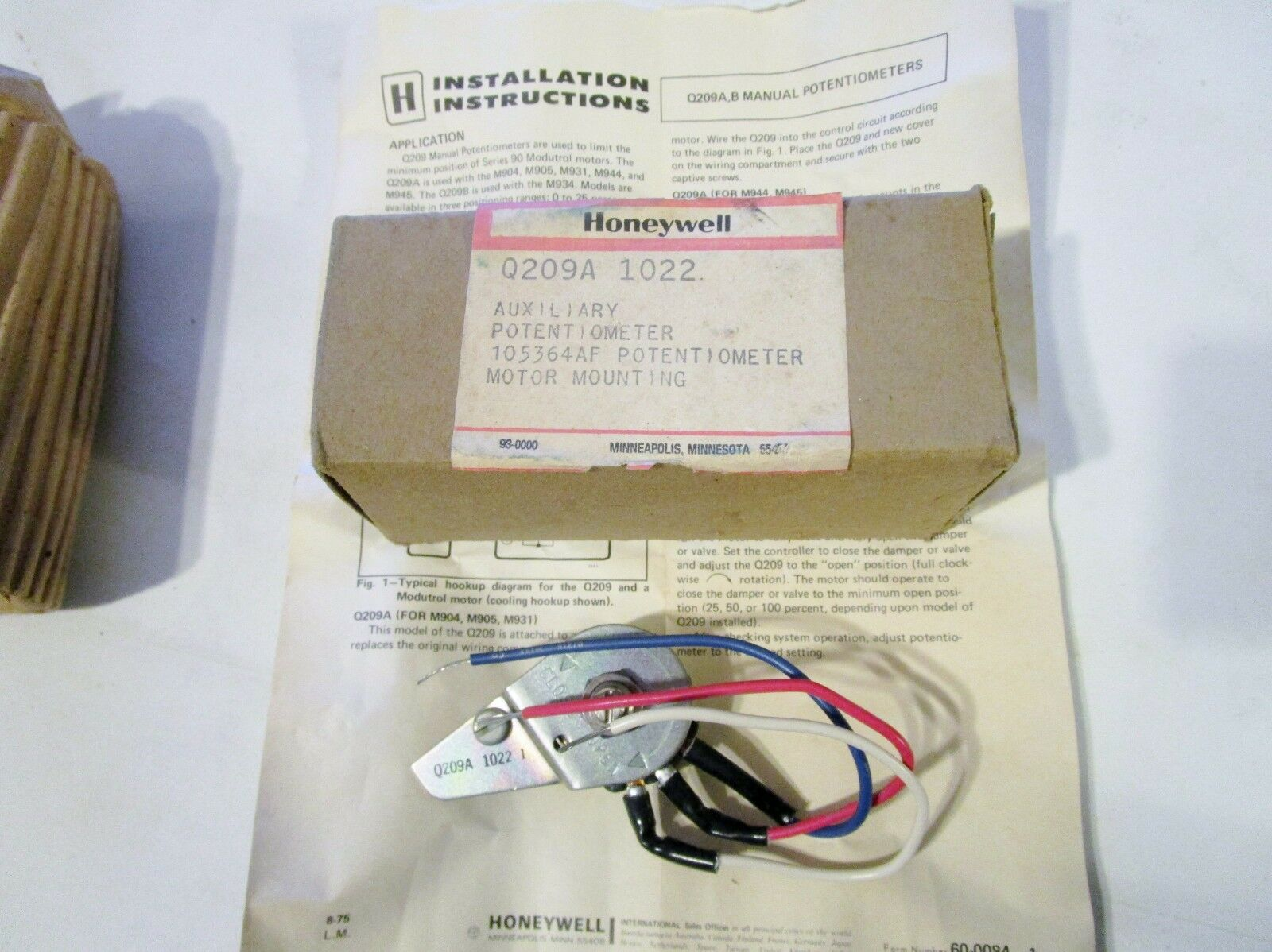 HONEYWELL Q209A 1022 AUXILIARY POTENTIOMETER NOS 0-300 ohms for Modutrol on