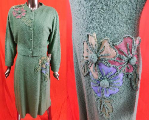 Vintage Green Boucle Knit Pastel Flower Applique S