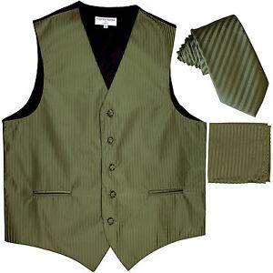 """New Men's Formal Vest Tuxedo Waistcoat_2.5"""" slim necktie set olive green wedding"""