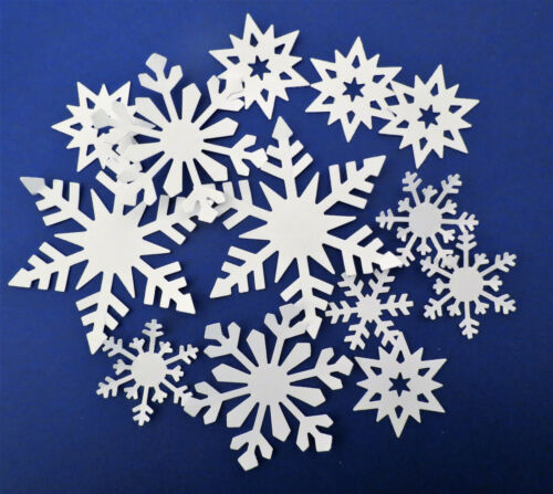 White Snowflakes Winter Punch Paper Die Cut Set of 100 Scrapbook Embellishment