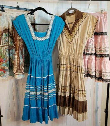 VTG Lot 1950s Dresses Circle Skirts Mexican Ric Ra