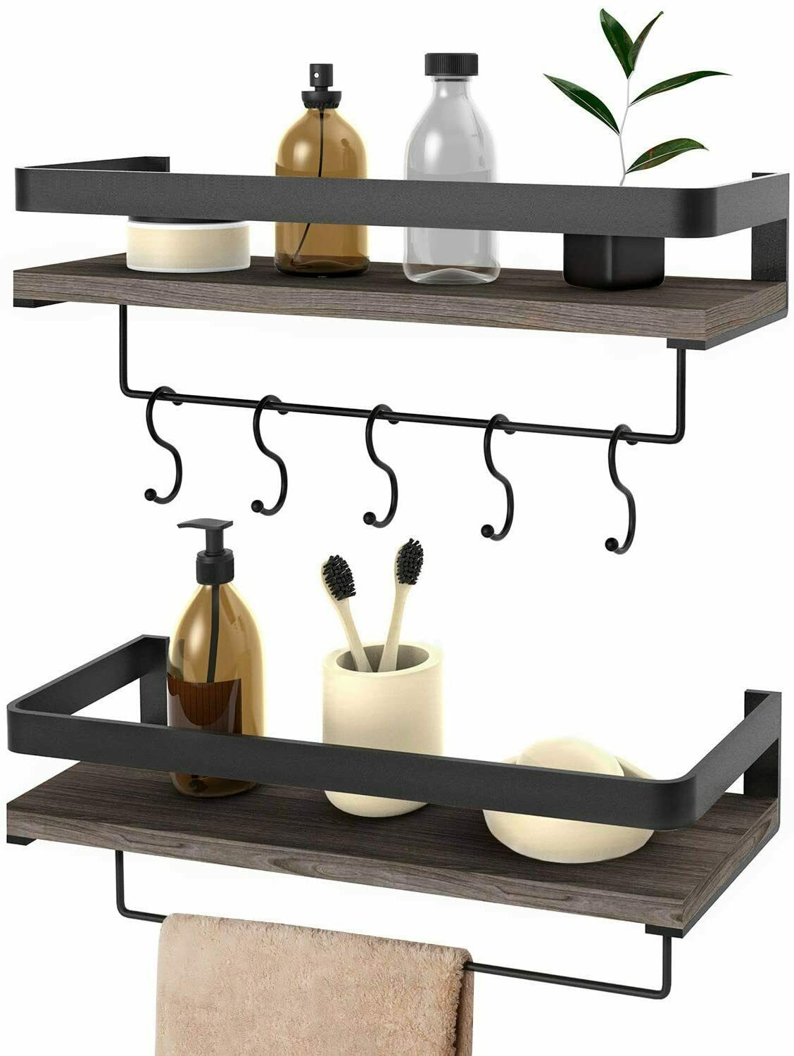 Natural Wood Wall Shelf Country Farmhouse Style Brown Kitchen Bathroom Storage For Sale Online Ebay