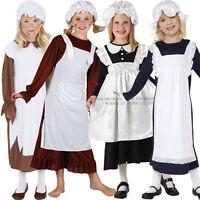 Child Victorian Poor Girl Fancy Dress Book Week Kids Maid Costume Hat Mop Cap