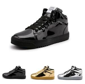 Mens-Hip-hop-Flat-Shiny-Outdoor-High-Top-Athletic-Breathable-Street-Board-Shoes